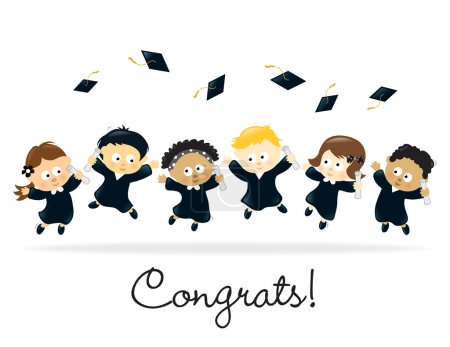 Illustration for Group of graduating kids jumping for joy - Royalty Free Image