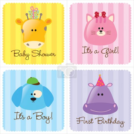 Foto de Assorted Baby Cards Set 3 (1- baby shower, 2-birth announcements, 1- first birthday) - Imagen libre de derechos