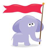 Elephant holding flag