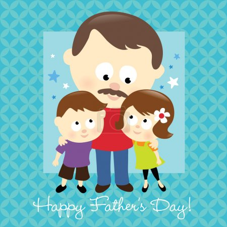Illustration for Illustration of two kids hugging their daddy - Royalty Free Image