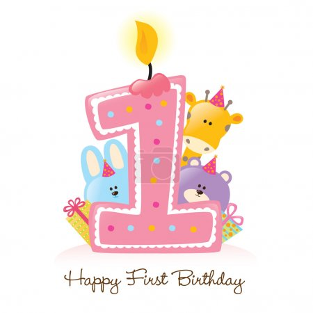 Happy First Birthday candle and animals
