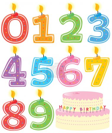 Photo for Numbered Birthday Candles and Cake Isolated - Royalty Free Image