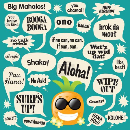 Phrases in comic bubbles (Hawaii)