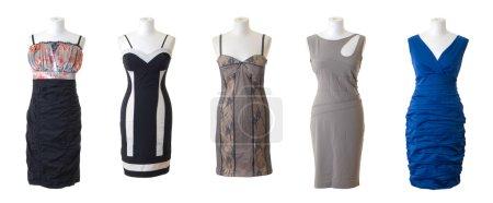 Photo pour Mannequins féminins dans différents types de robes longues. isolé sur fond blanc - image libre de droit