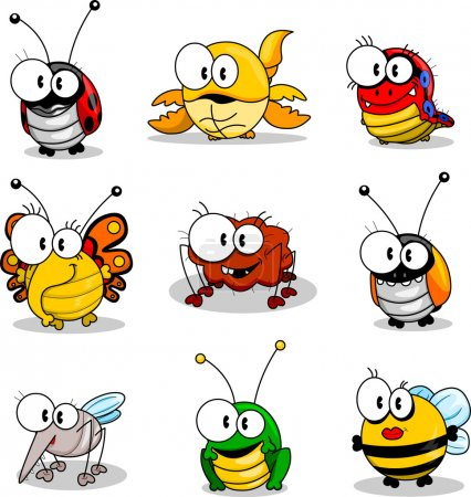 Illustration for Some cartoon insects (ladybird, scorpion, caterpillar, butterfly, spider, beetle, mosquito, grasshopper, bee). - Royalty Free Image