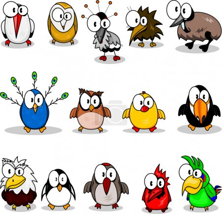 Illustration for Cartoon birds (chicken, eagle owl, toucan, penguin, peacock , owl, parrot, woodpecker, cardinal-bird, ostrich, crane, stork, kiwi, eagle). - Royalty Free Image
