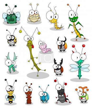 Illustration pour Quelques insectes de dessin animé (une coccinelle, une mouche, une cigale, une scolopendra, une mante, un insecte bâton, un ver, un moucheron, une libellule, une guêpe, une fourmi, une sauterelle, des scarabées ). - image libre de droit