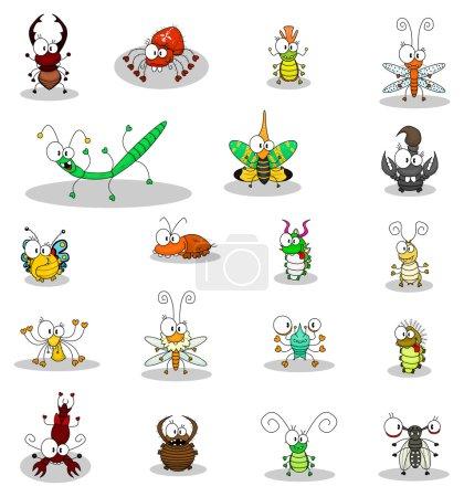 Illustration pour Quelques insectes de dessin animé . - image libre de droit