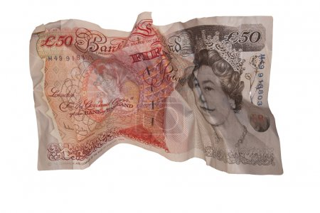 Fifty pound note isolated