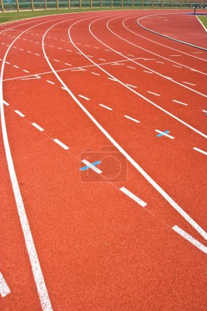 Photo for A university running track, around an football field. - Royalty Free Image
