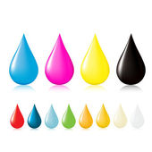 Multicolored drops with reflection Including the CMYK palette color of water and blood Vector illustration