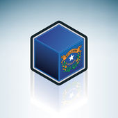 Flag of State of Nevada (United States of America) made as a cubic 3D Isometric Style Icon