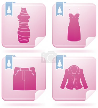 Illustration for Woman's Clothing theme icons set covering all things from a trousers to elegant dress. (part of Flamingo Square 2D Icons Set) - Royalty Free Image