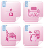 Various hotel icons: 1 Star Hotel TV Room English-speaking staff available Reading Room (part of Flamingo Square 2D Icons Set)