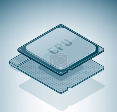 Illustration for Computer Processor is a part of the Isometric 3D Computer Hardware Icons Set - Royalty Free Image