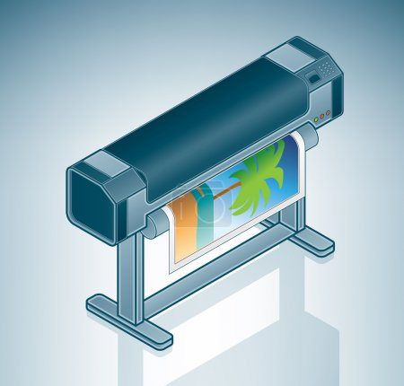 Illustration pour Imprimante photo grand format / traceur est une partie de l'Isometric 3D Matériel informatique Icônes Set - image libre de droit