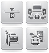 Various hotel icons: 1 Star Hotel TV Room English-speaking staff available Reading Room (part of Platinum Square 2D Icons Set)
