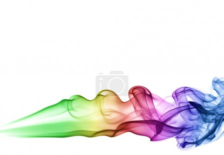 Photo for Colored smoke spreading horizontally, isolated over white - Royalty Free Image