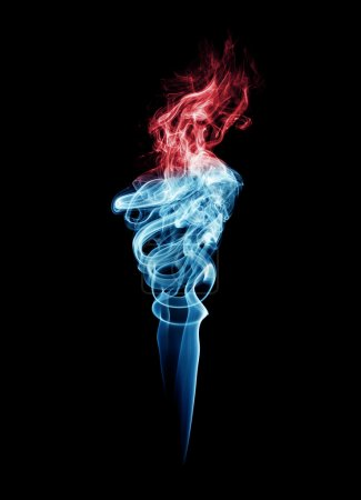 Blue and red torch-shaped smoke