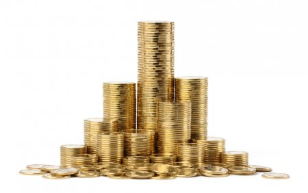 Stacks of a golden coins