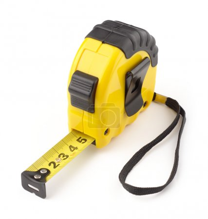 Photo for Single yellow and black tape measure, isolated over white - Royalty Free Image