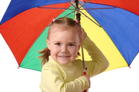 Photo for Cute cheerful child with umbrella, isolated over white - Royalty Free Image