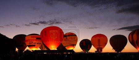 Night glow. Balloon fiesta