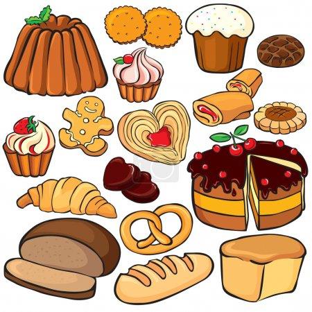 Illustration pour Ensemble d'icônes cuisson et bonbons - image libre de droit