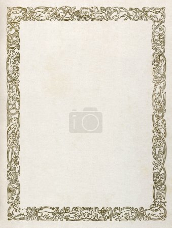 Photo for Medieval pattern border with mythological animals and creatures, printed on paper. - Royalty Free Image