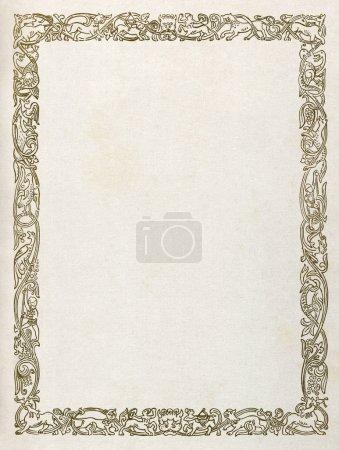 Photo pour Jacquard médiévale avec les animaux mythologiques et créatures, imprimé sur papier. - image libre de droit