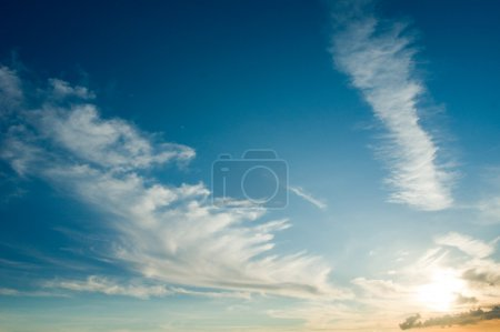 Feather clouds at blue sky
