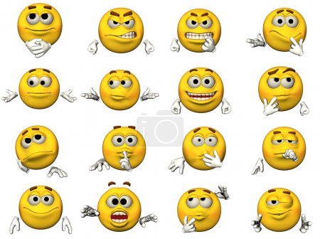 Photo for 16 isolated illustrations of emoticons - Royalty Free Image