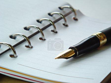 Photo pour Carnet spiralé vierge avec stylo plume dessus - image libre de droit