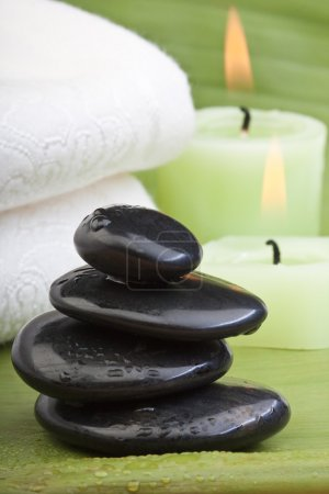Hotstones for thermotherapy with green background ...