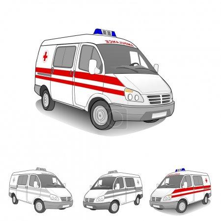 Illustration for 4 Ambulance car set, vector illustration - Royalty Free Image
