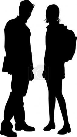 Illustration pour Étudiants en couple, vecteur noir et blanc, amis - image libre de droit