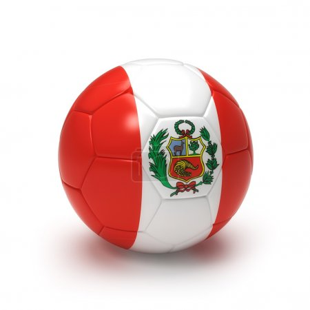 3D soccer ball with Peruvian flag