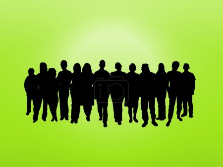 Photo for Illustrated crowd of over a green background - Royalty Free Image