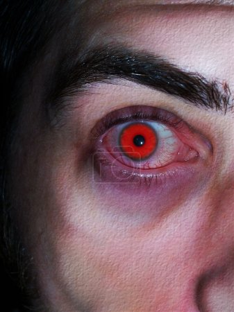 Close-up photo/illustration of a red vampires eye...