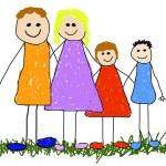 Childlike illustration of a happy family...