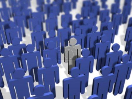 Photo pour Illustration d'une foule de tout bleu couleur sauf un - image libre de droit