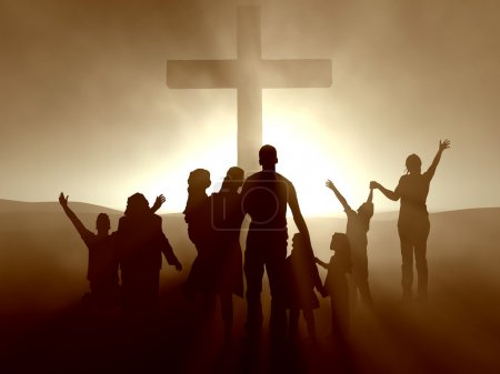 Photo for Silhouettes of family and at the cross of Jesus. - Royalty Free Image