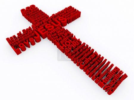 Croix rouge composé de mots 3d