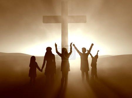 Photo pour Silhouettes des enfants à la Croix de Jésus christ - image libre de droit