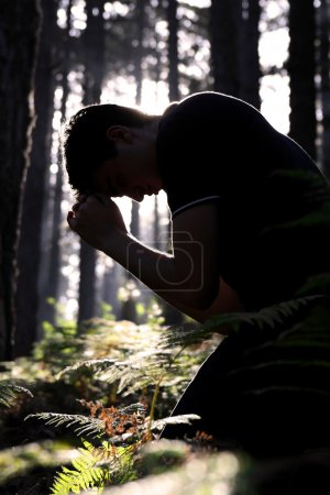 Photo for Silhouette of a man kneeling and praying in the forest, shallow depth of field, high contrast. - Royalty Free Image