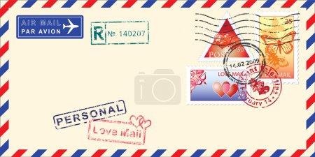 Illustration pour Enveloppe postale aérienne pour la Saint-Valentin. Éléments pour votre design. Illustration vectorielle - image libre de droit