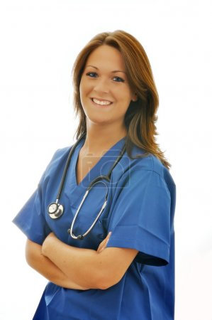 Smiling Female Nurse with Stethoscope Isolated