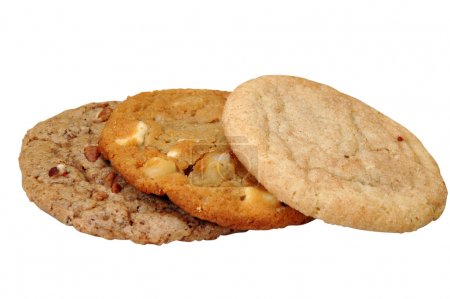Photo for Three assorted cookies. Isolated image with clipping path. - Royalty Free Image