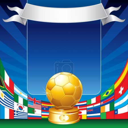 Photo for Gold soccer cup with all flags of groups - Royalty Free Image