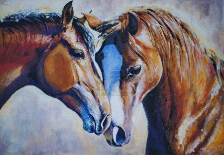Photo pour Portrait de deux chevaux peints en acrylique. . - image libre de droit
